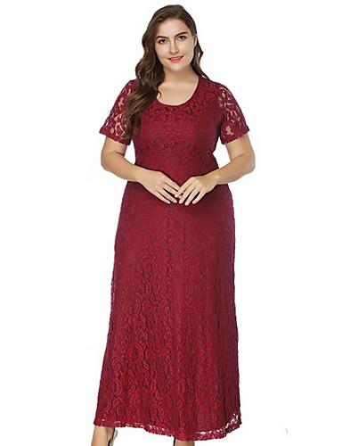 hesapli Büyük Beden Elbiseleri-Kadın's Büyük Bedenler Sokak Şıklığı İnce Kılıf Elbise - Solid Maksi
