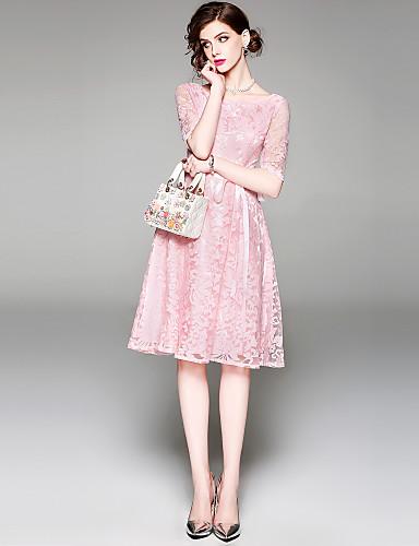 Damskie Wyjściowe Moda miejska / Wyrafinowany styl Linia A / Swing Sukienka - Solidne kolory, Haft Wysoka talia Do kolan / Wiosna / Lato