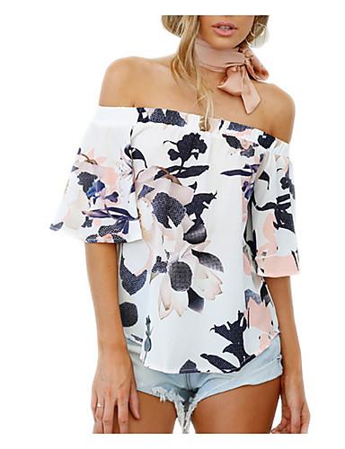 T-shirt Damskie Aktywny Wyjściowe Bez ramiączek / Z odsłoniętymi ramionami Solidne kolory