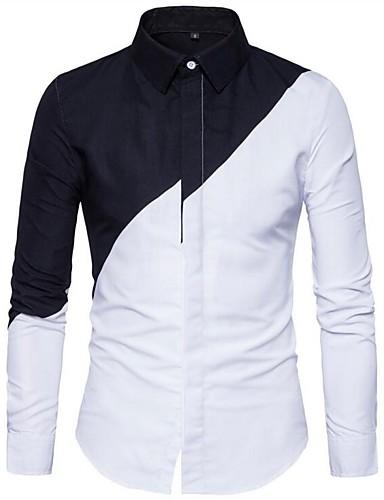 Koszula Męskie Podstawowy Bawełna Szczupła - Kolorowy blok / Długi rękaw