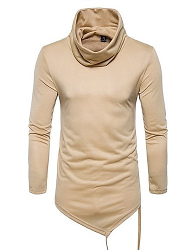 abordables Camisetas y Tops de Hombre-Hombre Básico Algodón Camiseta, Cuello Alto Un Color Azul Marino L / Manga Larga / Primavera / Verano