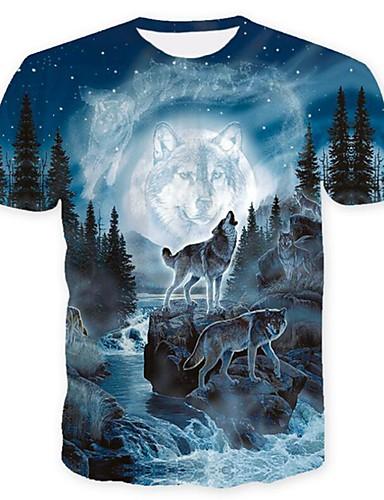Χαμηλού Κόστους Το animal print-Ανδρικά Μεγάλα Μεγέθη T-shirt Κλαμπ Κομψό στυλ street Ζώο Στρογγυλή Λαιμόκοψη Στάμπα Λύκος Θαλασσί XL / Κοντομάνικο / Καλοκαίρι