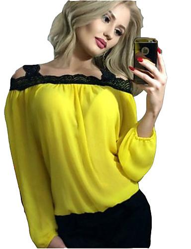 abordables Camisas y Camisetas para Mujer-Mujer Noche Camiseta, Con Tirantes / Hombros Caídos Un Color Blanco M