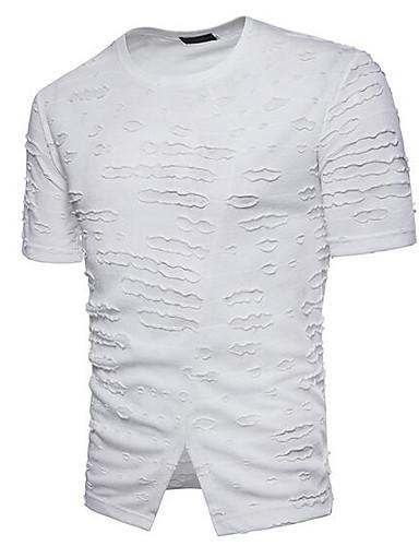 T-shirt Męskie Moda miejska Okrągły dekolt Solidne kolory / Krótki rękaw