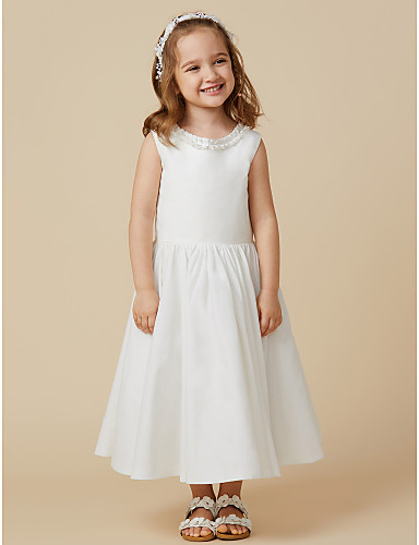Princess Knee Length Flower Girl Dress - Cotton Sleeveless Scoop Neck with Pleats by LAN TING BRIDE®