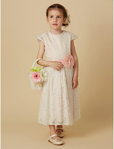 Sütun Taşlı Yaka Diz Altı Dantelalar Kurdeleler / Çiçekli ile Çiçekçi Kız Elbisesi tarafından LAN TING BRIDE®