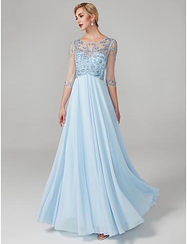 Haine Bal Bijuterie Lungime Podea Șifon See Through Bal / Seară Formală Rochie cu Mărgele / Detalii Cristal de TS Couture®