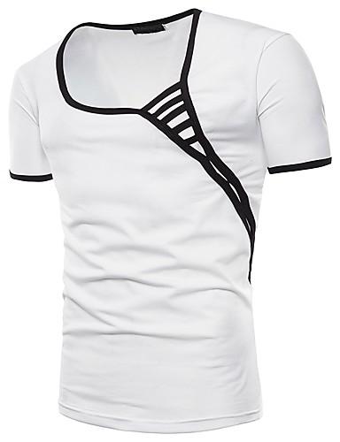 billige T-shirts og undertrøjer til herrer-Rund hals Herre - Ensfarvet Basale / Gade T-shirt Hvid L / Kortærmet / Sommer