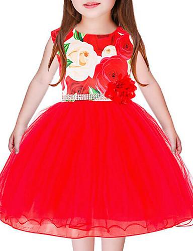Dzieci Dla dziewczynek Casual Kwiaty Bez rękawów Sukienka