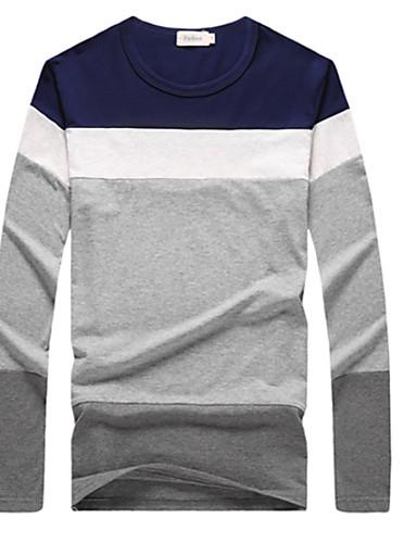 T-shirt Męskie Aktywny Okrągły dekolt Jendolity kolor / Długi rękaw