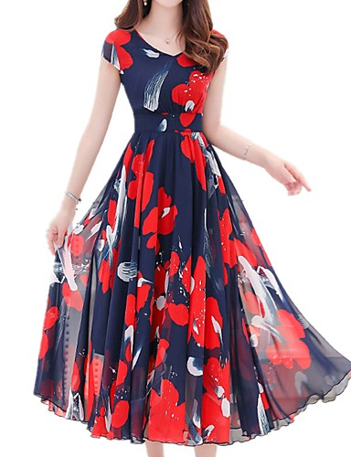 3dbfd85a9df Women s Floral Plus Size Daily Holiday Boho Sophisticated Slim Sheath Dress  - Floral Print V Neck Summer Red XL XXL XXXL