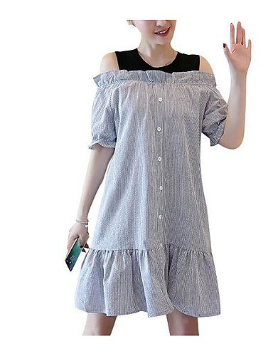 Damskie Bawełna Bufka Linia A Sukienka - Jendolity kolor, Plisy Do kolan