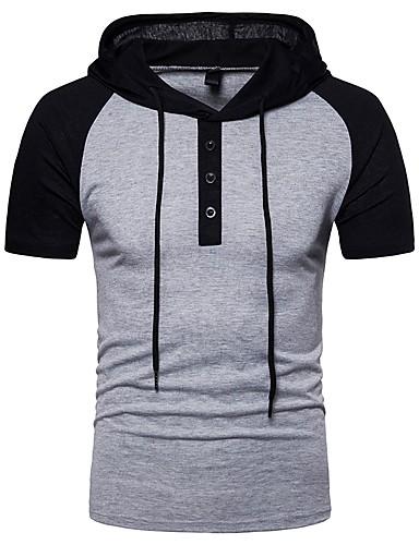 T-shirt Męskie Podstawowy, Patchwork Bawełna Kaptur Kolorowy blok / Krótki rękaw