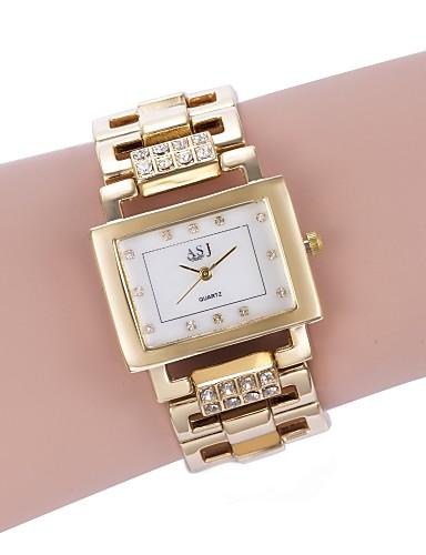 1f7814c37d6 ASJ Mulheres Bracele Relógio Japanês Quartzo Branco   Dourada Relógio  Casual Analógico senhoras Luxo Fashion - Dourado Prata Dois anos Ciclo de  Vida da ...