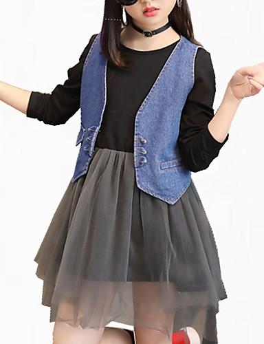 Pamut Virágos Hímzett Ősz Minden évszak Hosszú ujj Lány Ruházat szett Virágos Elegáns ruházat Fekete