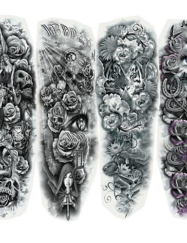 povoljno Sniženje-4 pcs Tetovaže naljepnice Privremene tetovaže Serija karikatura Body Arts Lice / Tijelo / ruke