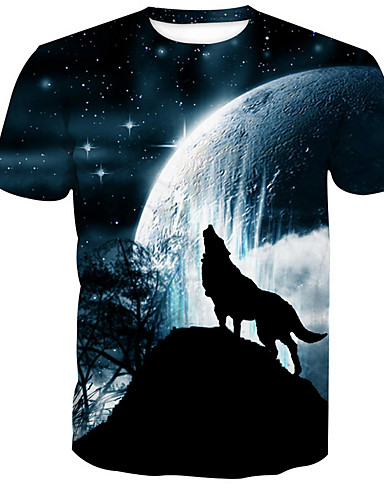 T-shirt Męskie Podstawowy, Nadruk Okrągły dekolt Zwierzę / Krótki rękaw