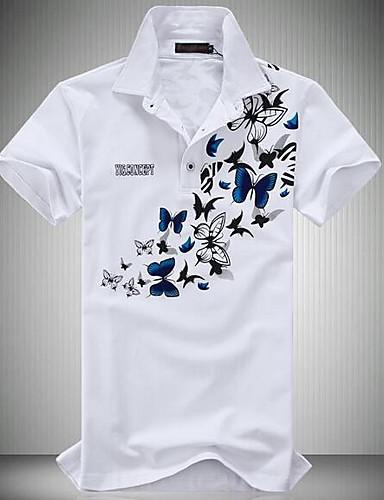 voordelige Herenpolo's-Heren Actief Polo Bloemen Overhemdkraag Wit / Korte mouw