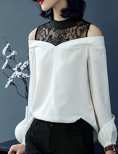 billige Topper til damer-Høy krage T-skjorte Dame - Ensfarget, Blonde Vintage Ferie