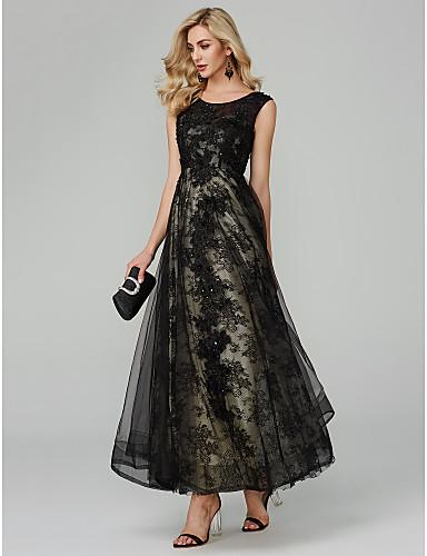 A-linje Besmykket Gulvlang Tyll Cocktailfest / Formell kveld / Ferie Kjole med Appliqué av TS Couture®
