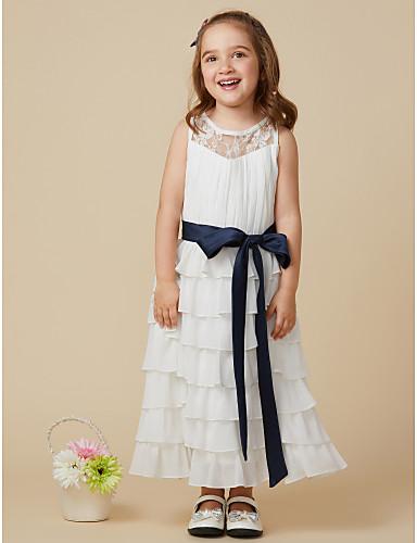 Γραμμή Α Μέχρι το γόνατο Φόρεμα για Κοριτσάκι Λουλουδιών - Σιφόν Αμάνικο Με Κόσμημα με Φιόγκος(οι) Δαντέλα Ζώνη / Κορδέλα Πλισέ με LAN
