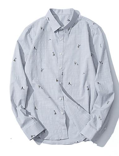 Koszula Męskie Moda miejska Geometryczny / Długi rękaw