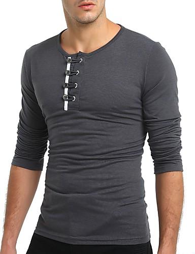 T-shirt Męskie Podstawowy Okrągły dekolt Szczupła - Solidne kolory / Długi rękaw