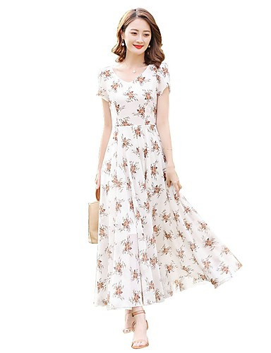a4eb7287364 Women s Plus Size Holiday Going out Street chic Maxi Slim Chiffon Swing  Dress - Floral Print High Waist V Neck Spring White XL XXL XXXL
