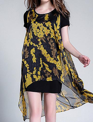 Damskie Bawełna Shift Sukienka - Kwiaty Do kolan / Wiosna