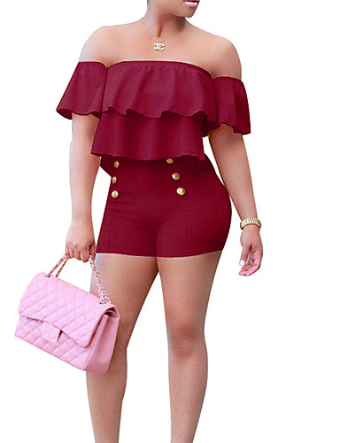 2c471535201 Women s Off Shoulder Ruffle Plus Size Daily   Going out Street chic Boat  Neck Wine Light Blue Royal Blue Skinny Bodysuit
