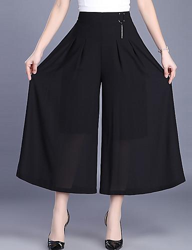 Damskie Podstawowy Luźna Spodnie szerokie nogawki Spodnie - Solidne kolory Czarny XXL