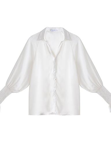 Bluzka Damskie Moda miejska Kołnierzyk koszuli Szczupła - Jendolity kolor
