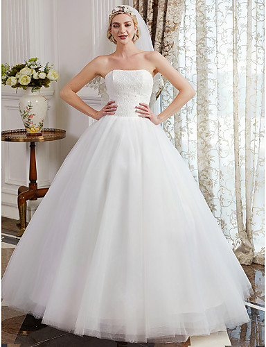 cheap Wedding Dresses-Ball Gown Strapless Floor Length Tulle Over Lace Made-To-Measure Wedding Dresses with Lace by LAN TING BRIDE® / Vintage Inspired