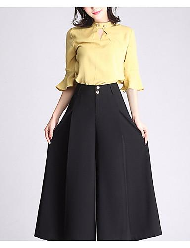 Damskie Przesadny Boot-cut / Spodnie szerokie nogawki Spodnie Solidne kolory / Wyjściowe