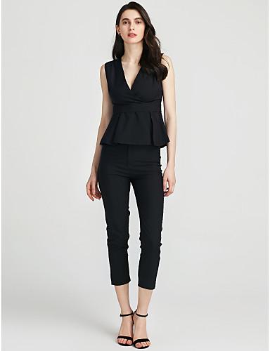 Damen T-shirt - Solide V-Ausschnitt Hose