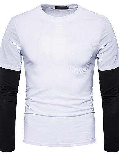 T-shirt Męskie Aktywny / Podstawowy Bawełna Okrągły dekolt Szczupła - Kolorowy blok / Długi rękaw