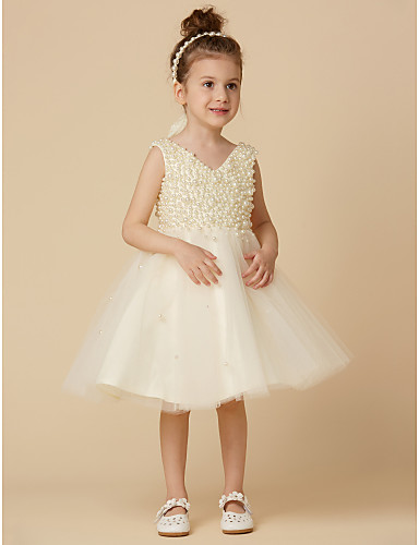 2790dc1d5 A-Line Knee Length Flower Girl Dress - Satin / Tulle Sleeveless V Neck with  Beading by LAN TING BRIDE®
