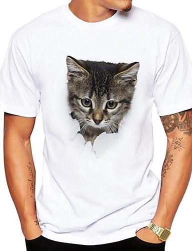 Puszysta T-shirt Męskie Moda miejska, Nadruk Okrągły dekolt Zwierzę / Krótki rękaw