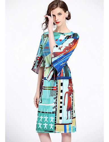 abordables Robes Femme-Femme Mi-long Ample Courte Robe Géométrique Eté Bleu clair L XL XXL Manches 3/4