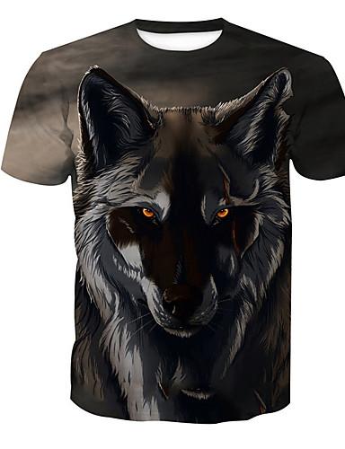 voordelige Uitverkoop-Heren Standaard Print T-shirt dier Ronde hals Wolf Grijs / Korte mouw / Zomer