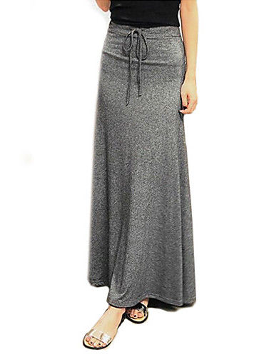 Women's Casual / Basic Maxi Skirts - Solid Colored / Loose
