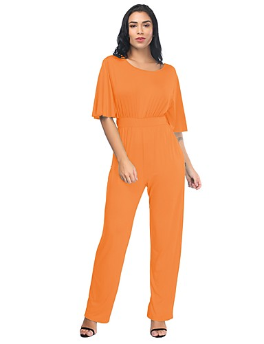 abea2e654afb9 Women s Plus Size Daily   Holiday Basic   Street chic Gray Wine Light Blue  Loose Jumpsuit