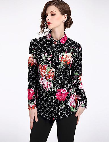 povoljno Ženske majice-Majica Žene - Ulični šik Dnevno Cvjetni print Kragna košulje