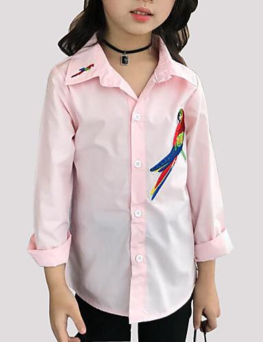 Para Meninas Camisa Diário Bordado Primavera Outono Algodão Manga Longa Desenho Branco Rosa