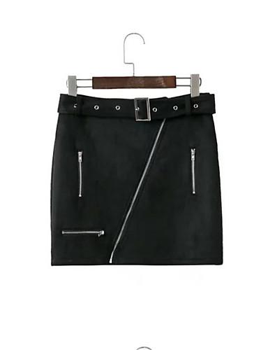 Damskie Moda miejska Sztuczna skóra Ołówek Spódnice - Wyjściowe Solidne kolory