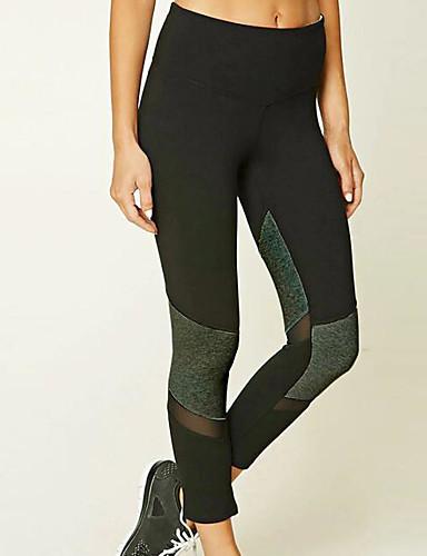 Damskie Codzienny Podstawowy Legging - Kolorowy blok, Nadruk Średni Talia / Sportowy look