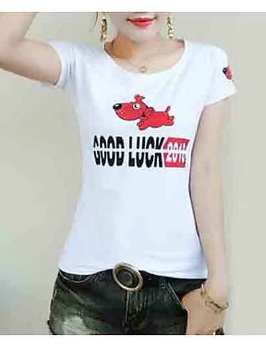 tricou pentru femei - gât rotund pentru animale / scrisori