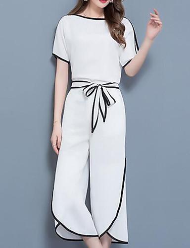 abordables Hauts pour Femmes-Femme Travail Grandes Tailles Chic de Rue / Sophistiqué Set - Couleur Pleine / Bloc de Couleur, Mosaïque / Ample Pantalon / Eté / Sexy