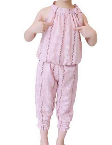 Dzieci / Brzdąc Dla dziewczynek Prążki Bez rękawów Komplet odzieży