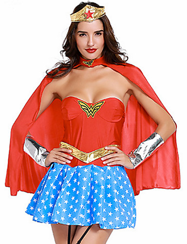 144a11106 Women s Super Heroes Warrior Sex Cosplay Costume Party Costume Patchwork  Dress Headpiece Corset